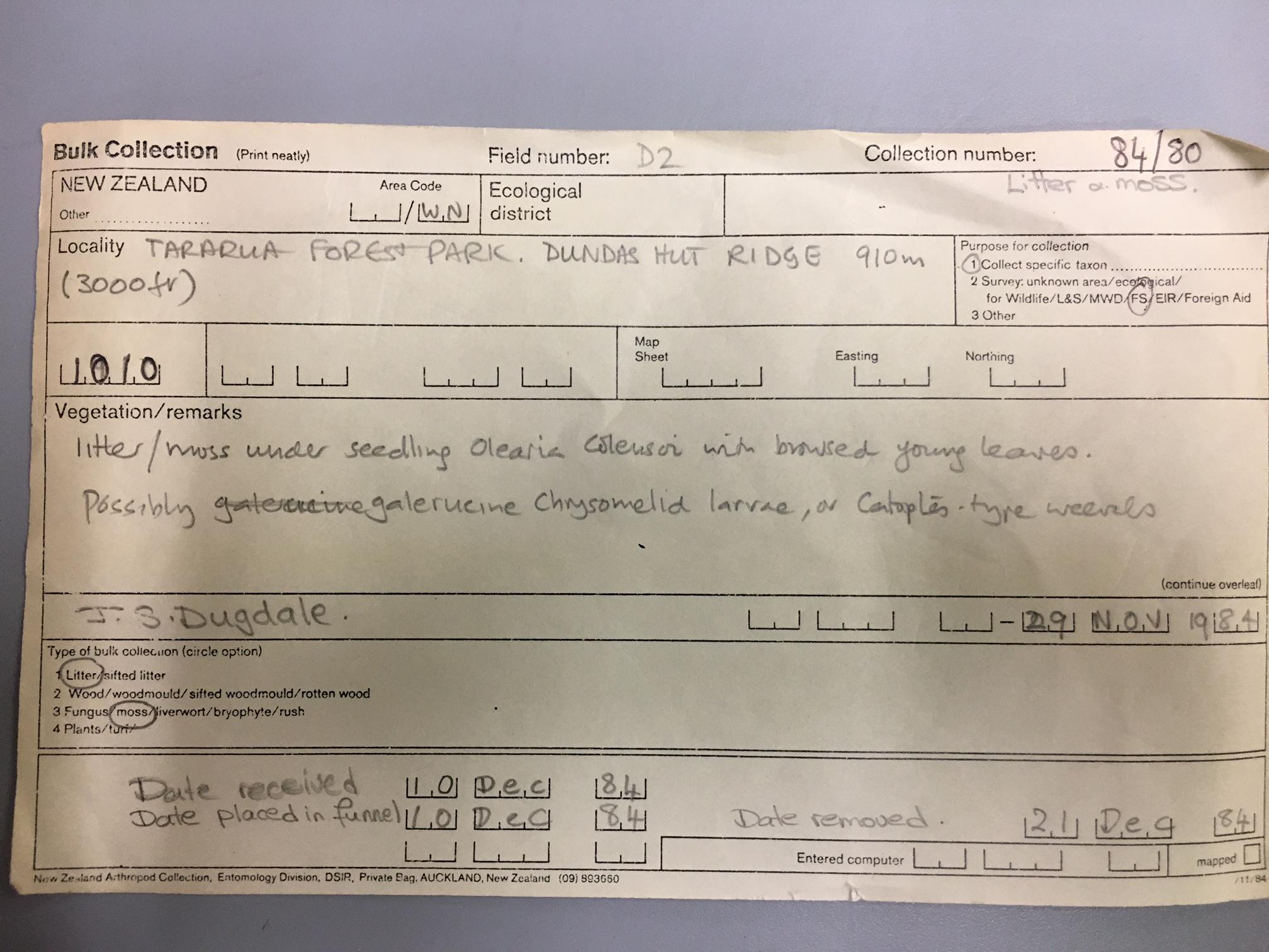 NZAC Litter card - example 1 - Datasets - Manaaki Whenua